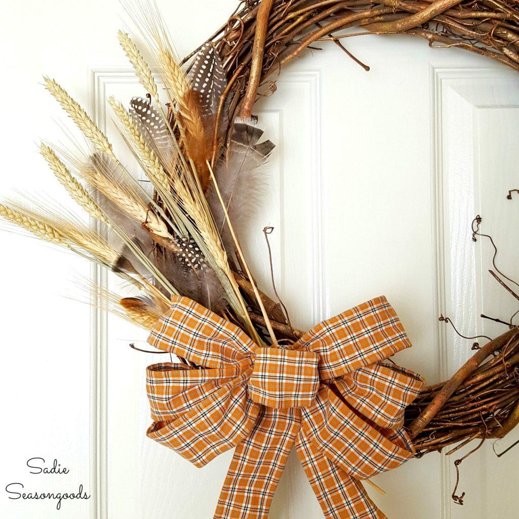 wreath made from a thrift store men's flannel shirt