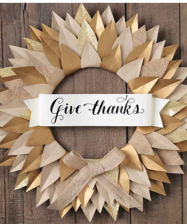 Paper leaf Give Thanks fall wreath tutorial