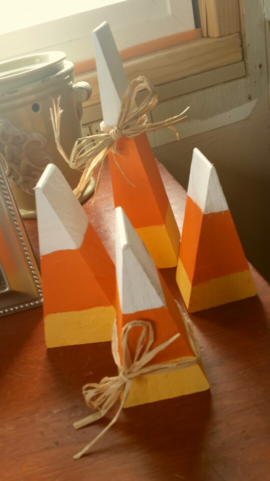 wooden candy corn decorations tutorial