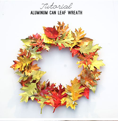 recycled aluminum can fall leaf wreath