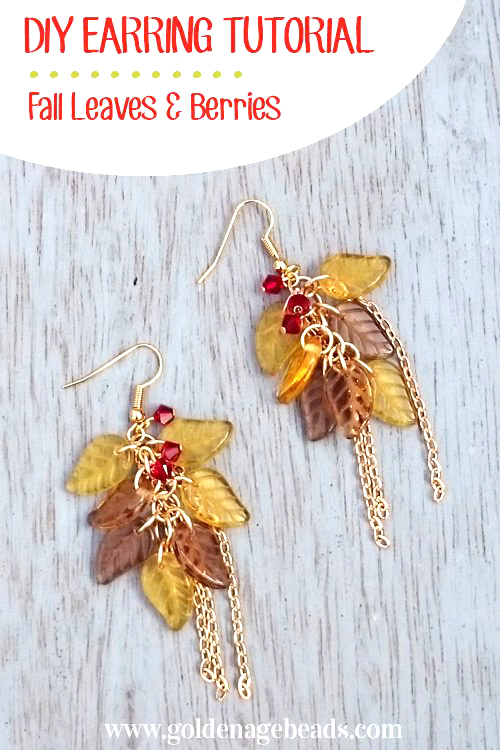 Fall leaf and berries bead and chain earring tutorial