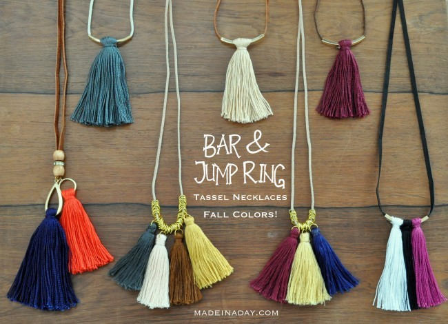 fall colors tassel and bar necklace tutorial