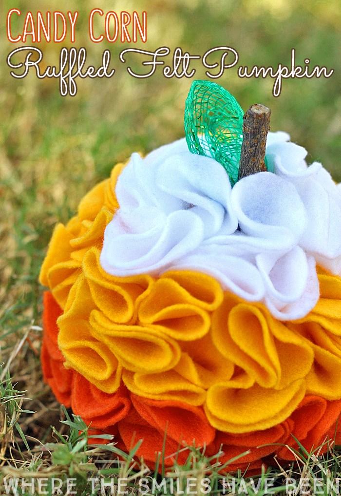 felt candy corn pumpkin decoration.