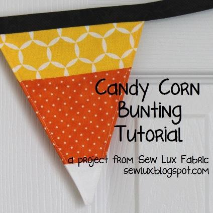Candy corn halloween fabric bunting tutorial