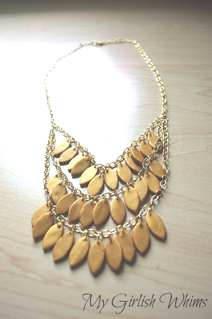 Polymer clay leaf statement necklace for fall