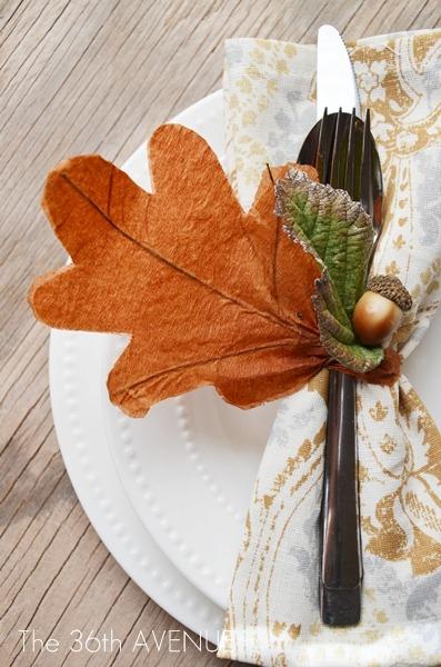 Crepe paper leaf fall thanksgiving napkin ring tutorial