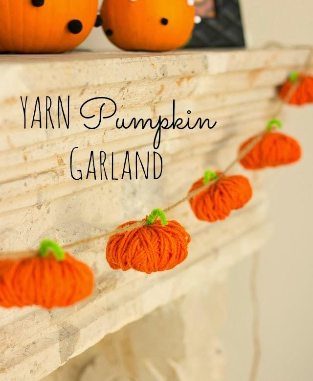 orange yarn pumpkin garland