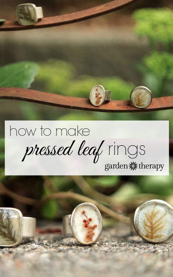 Preserved pressed leaf and flower ring tutorial