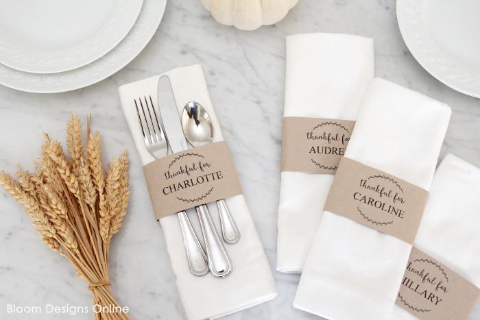 Printable, editable paper Thanksgiving napkin rings tutorial