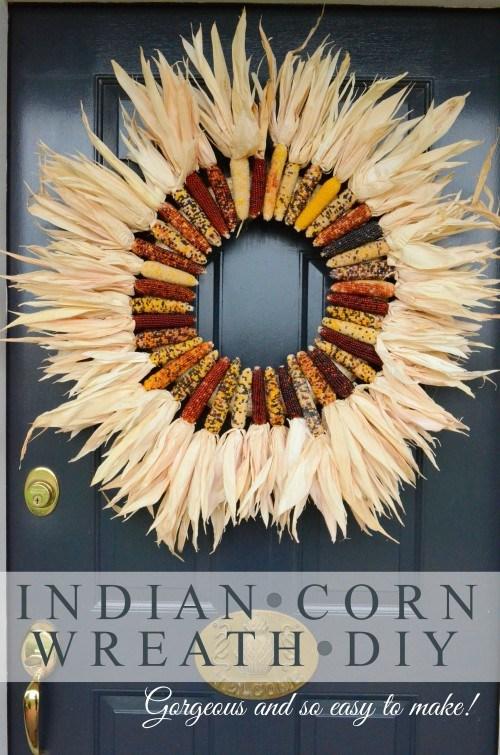 Indian corn fall wreath tutorial