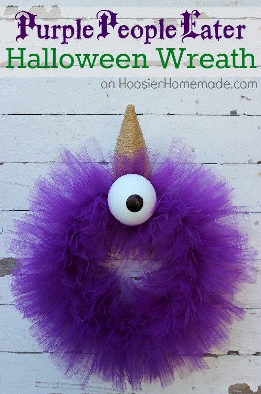 Purple People Eater tulle halloween wreath