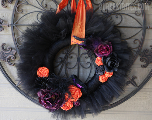 Black tulle and flowers Halloween wreath