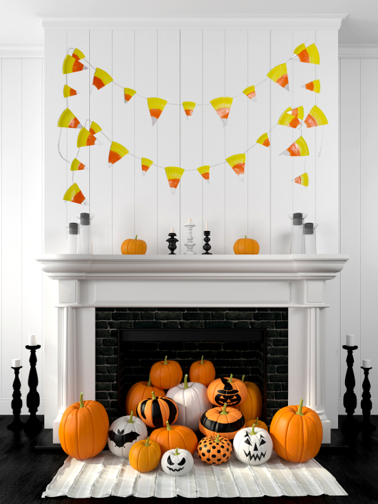 Paper plate candy corn Halloween bunting