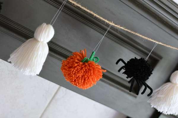 pumpkin ghost spider halloween garland