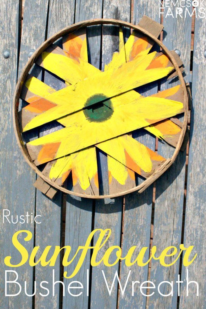 rustic sunflower bushel lid fall wreath