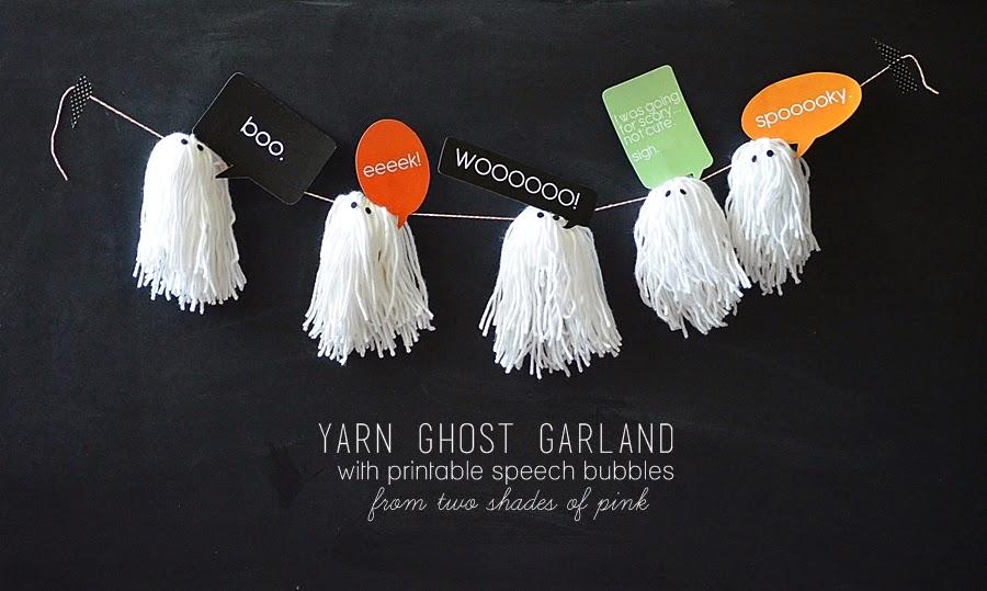 yarn tassel ghost Halloween garland