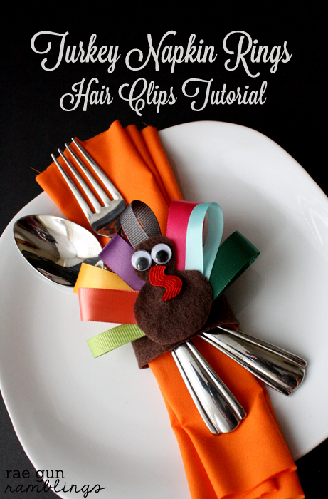 ribbon turkey Thanksgiving napkin rings tutorial