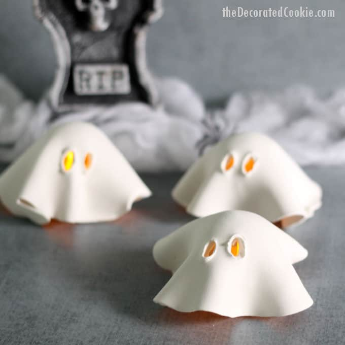 Air dry clay votive ghosts