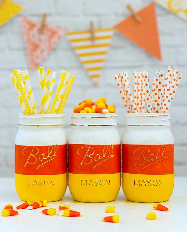 candy corn painted mason jars tutorial