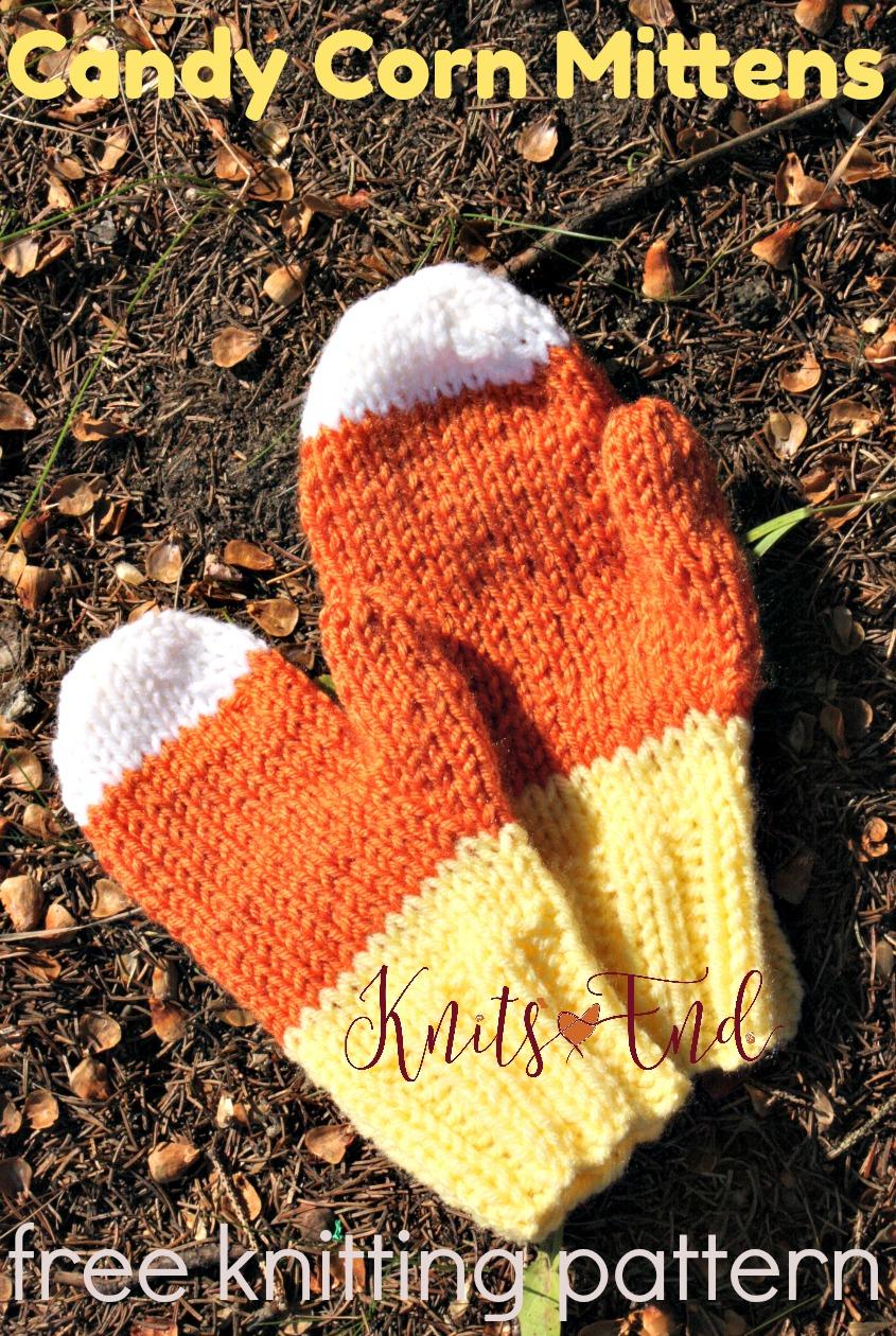Candy Corn Mittens free knitting pattern