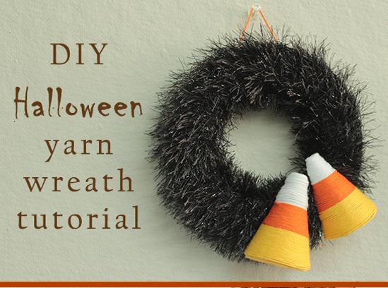Yarn candy corn Halloween wreath tutorial