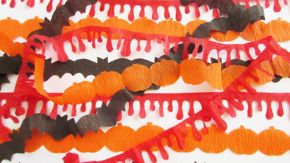 crepe paper halloween garland