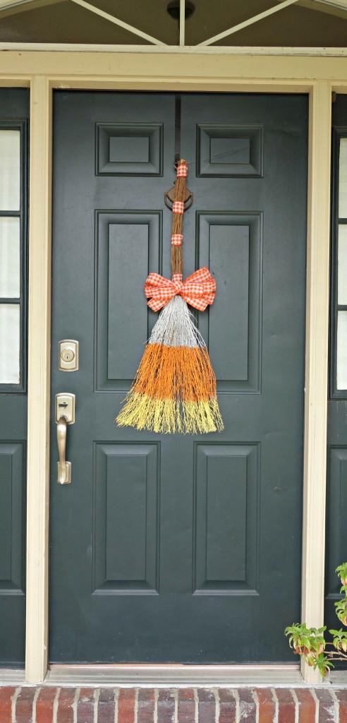Candy corn broom door decorations tutorial