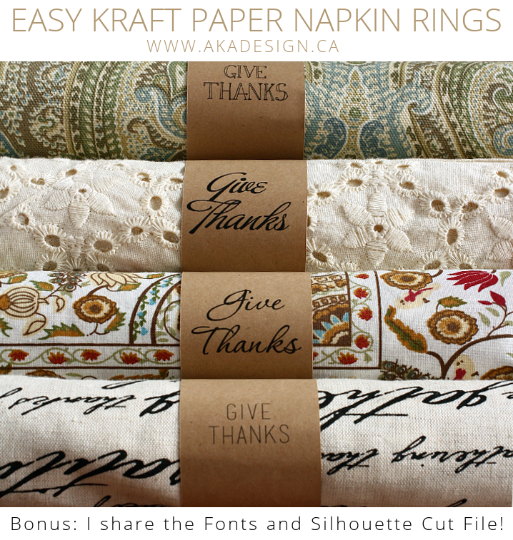Printable kraft paper Thanksgiving napkin rings