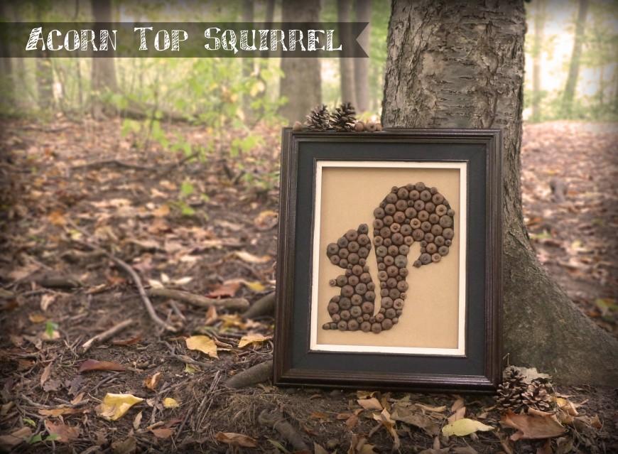 Acorn cap squirrel fall art