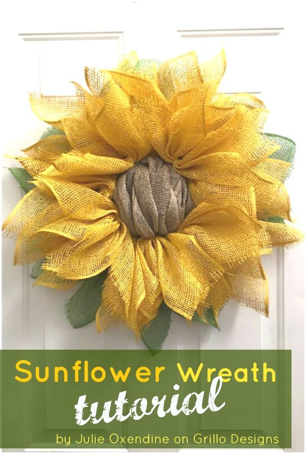 burlap sunflower fall wreath tutorial