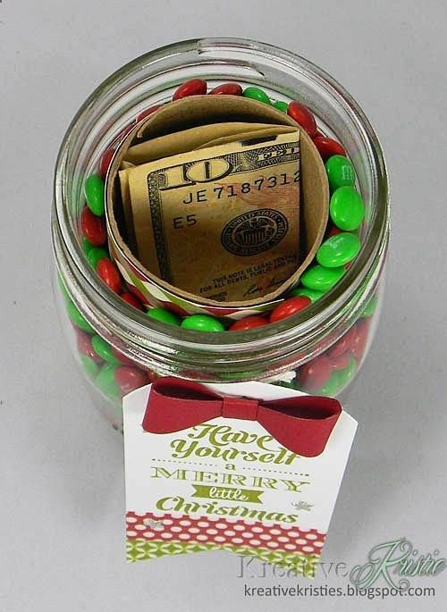 Hide money in the center of a jar of candy for a clever cash gift.