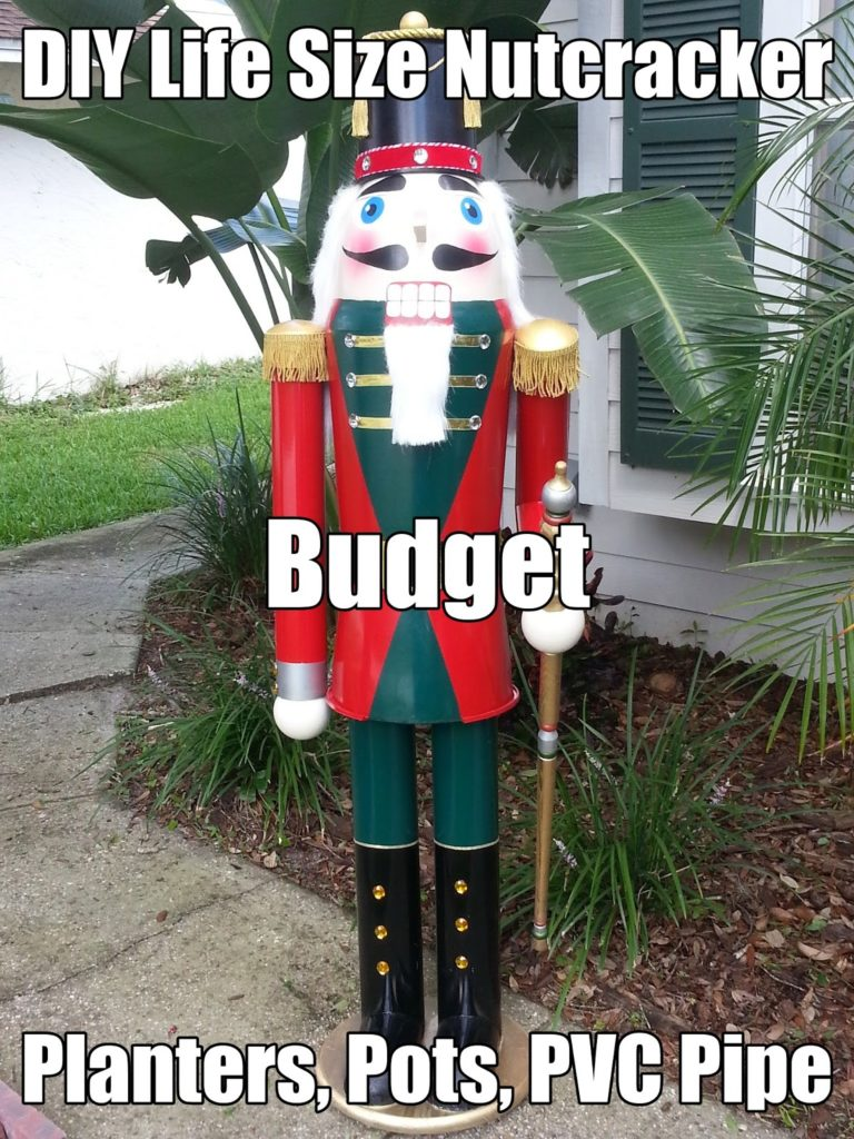 large scale life sized DIY nutcracker Christmas decoration on a budget