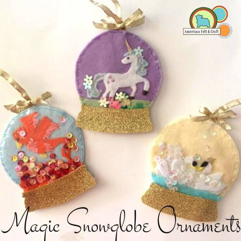 Magical unicorn snowglobe Christmas ornaments