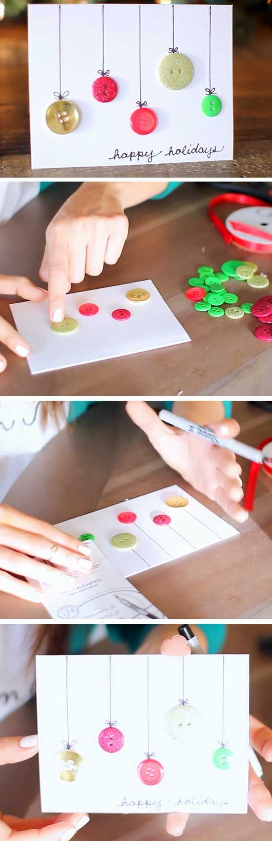 simple button ornament Christmas card video tutorial