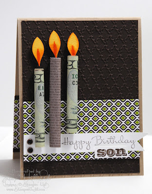 DIY birthday card with cash candles