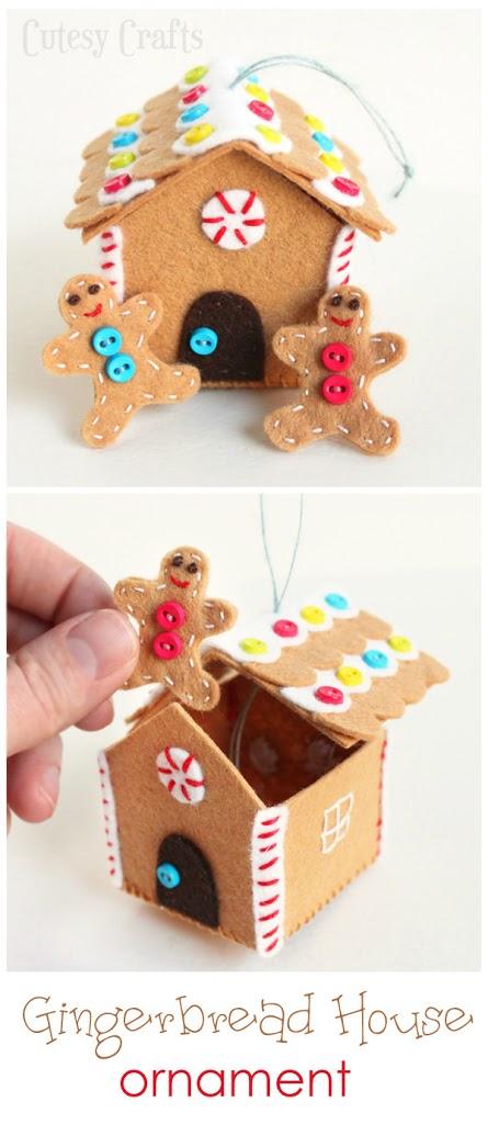 felt gingerbread house ornament tutorial