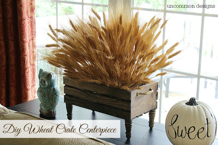 DIY wheat crate Thanksgiving centerpiece