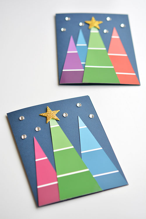 easy paint chip christmas tree Christmas cards