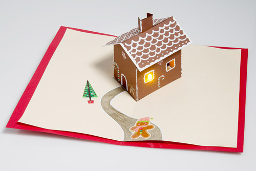 light up LED pop up gingerbread house Christmas card