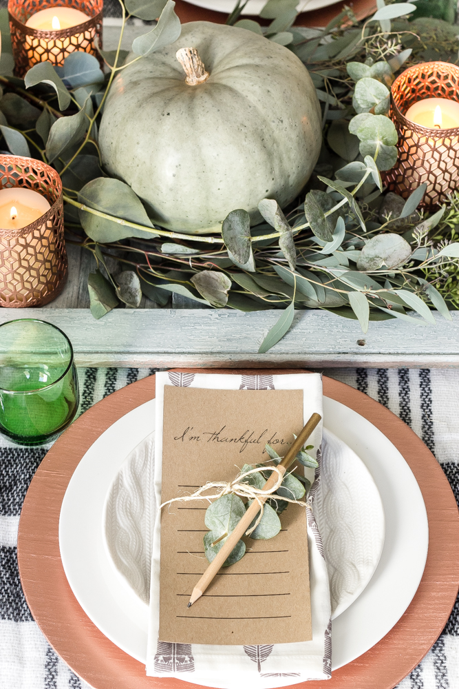 Free Printable I'm Thankful For Table Setting for Thanksgiving