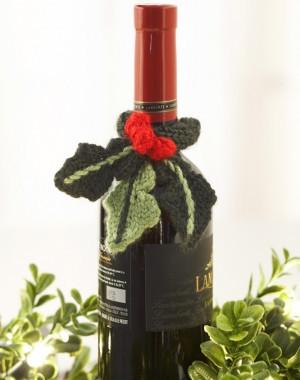 Holly crochet wine bottle decoration