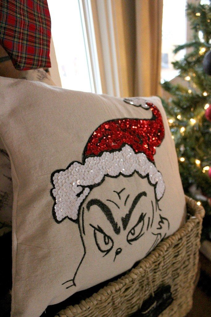 Grinch pottery barn pillow knockoff tutorial