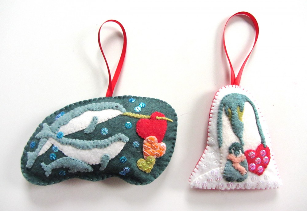 penguin and narwhal arctic animal felt Christmas ornament pattern and tutorial