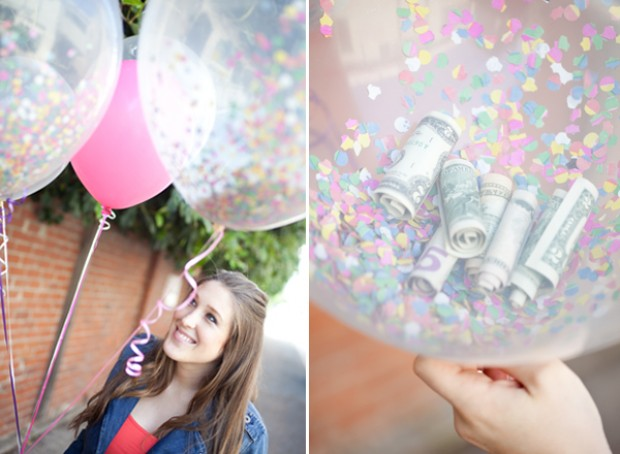 cash in a clear, confetti filled balloon
