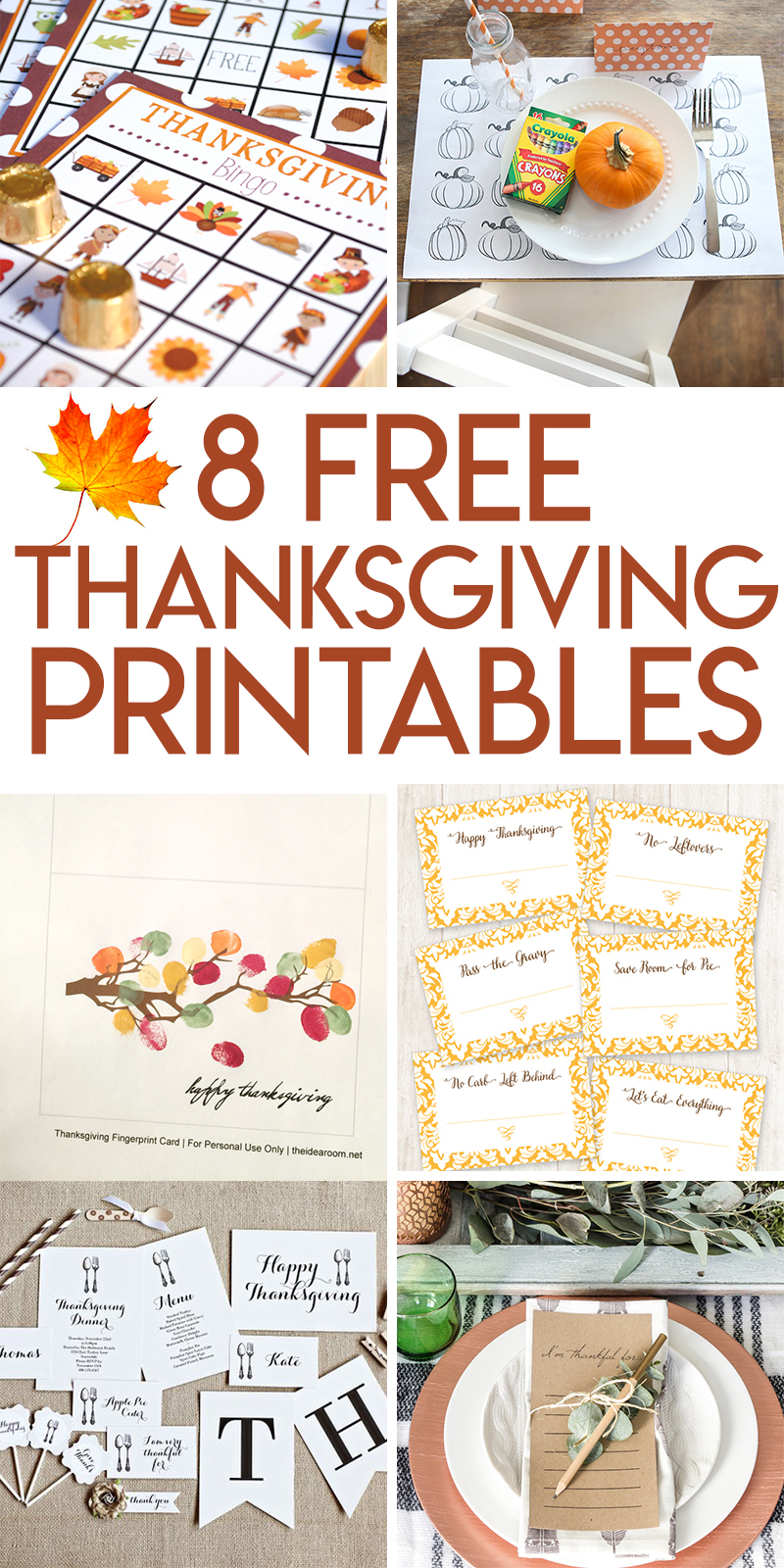8 free printables for your thanksgiving table