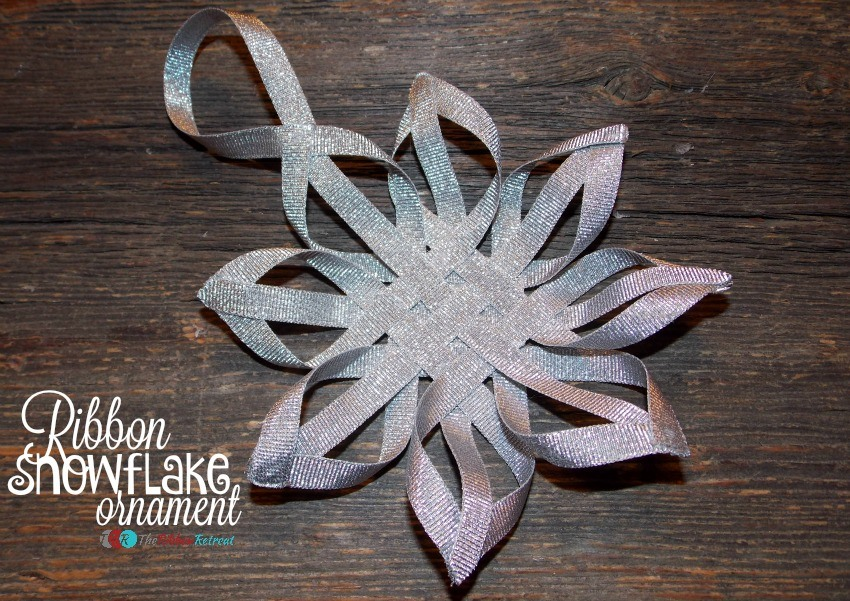 woven ribbon snowflake Christmas ornament tutorial