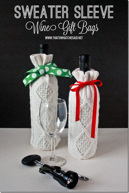 Sweater sleeve knitted no sew wine bottle cover tutorial