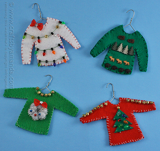 ugly christmas sweater felt ornaments tutorial