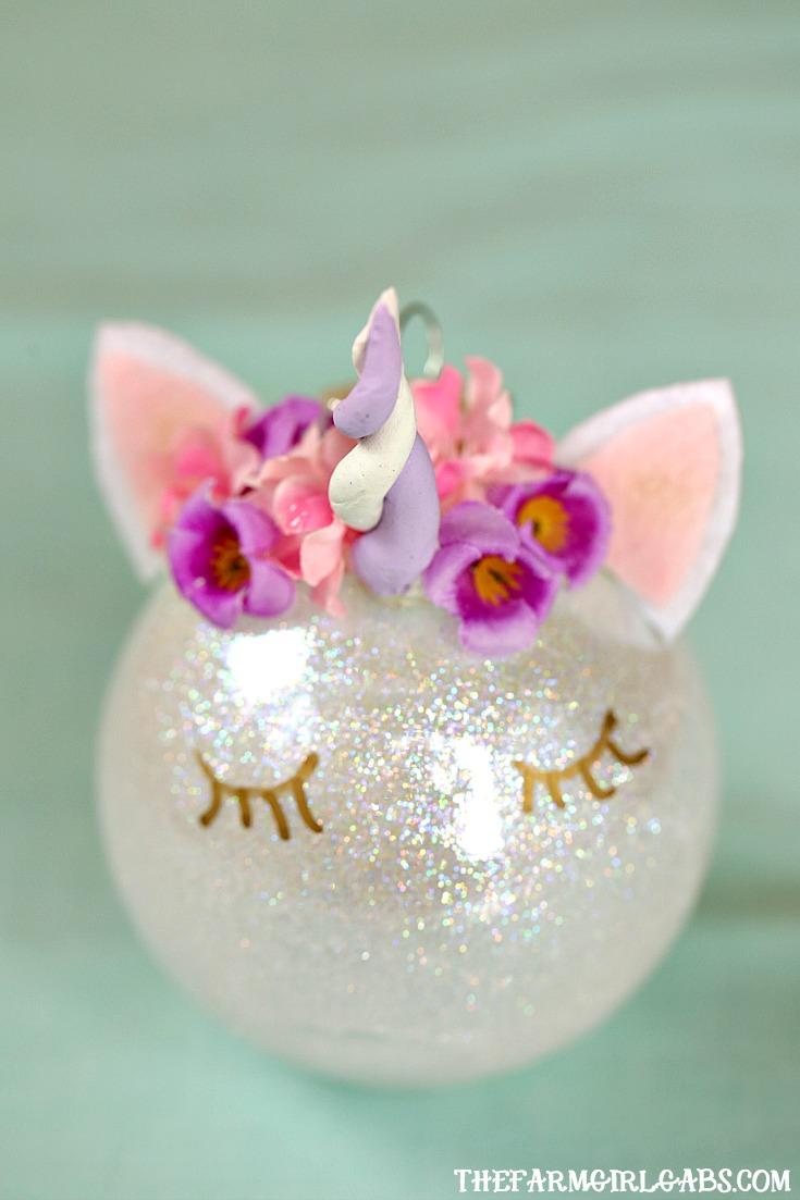 Unicorn glass Christmas ball ornament tutorial