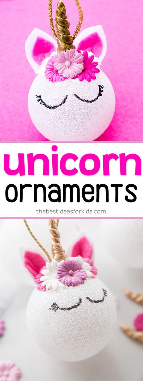 Charming, easy Unicorn Christmas ornament ball.